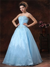 Baby Blue Appliques Bodice Princess Celebration Dress For Girl Graduation Wear