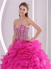 Top Seller Thick Hot Pink Ruffles Quinceanera Dress Fully Beading Corset