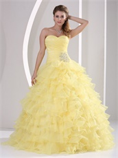 Princess Daffodil Dense Ruffles Quinceaners Ball Gowns For Military Ball