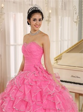 Rose Pink Ruffles With Silver Edge Ball Gown Plus Size Custom Free