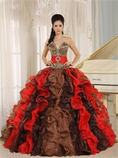 Multi-color Cyclic Ruffles Mixed Quinceanera Adult Gown With Leopard