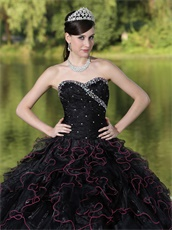 Black Ruffles Ball Gown With Hot Pink Details Ball Gown For Girl's Quinceanera