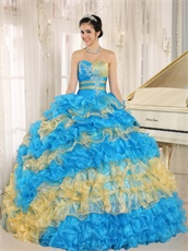 Stylish Puffy Cakes Skirt Sky Blue Quinceanera Ball Gown With Gold