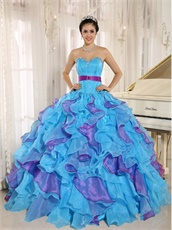 Girlish Aqua Blue and Fuchsia Cyclic Ruffles Puffy Form Ball Gown