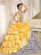 White Black Wave Point Ball Gown Beauty and the Beast Theme Yellow