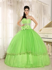 Pretty Spring Green Cakes Puffy Gown For Quinceanera Girl Wear