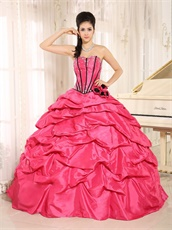Hot Pink Taffeta Bubble Cakes Quinceanera Gowns Wear For Spring