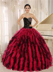Black and Hot Pink Circular Ruffles Puffy Quinceanera Gown Wear Petticoat