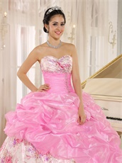 Lovely Hot Pink Pick-ups Quinceanera Ball Gown Printed Floral Pattern