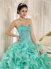 Apple Green Ruffles Puffy Quinceanera Girl Court Gown Top Seller Style