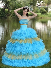 Designer Aqua Blue With Gold Details Quince Gown Like Cakes
