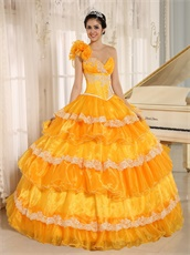 Yellow Cakes Quinceanera Gown Wear For Beauty and the Beast Theme