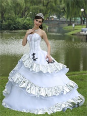 Ball Gown Skirt White Quinceanera Dress Silver Details For Military Ball