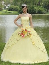 Lolita Cute Daffodil Quinceanera Ball Gown Runway Pageant