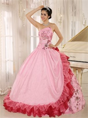 High Quality Sparkle Applqiues Sweet 16 Quinceanera Dress Pink Amiable