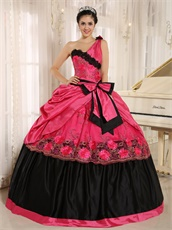 One Shoulder Coral Taffeta Puffy Senior High School Graduation Ball Gown