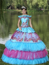 Exclusive Off Shoulder Appliques Cakes Ball Gown Quinceanera Dress Aqua