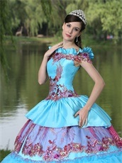 Exclusive Off Shoulder Appliques Cakes Ball Gown Quinceanera Dress Aqua