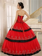Pretty Lacework Layers Cake Quinceanera Ball Gown Red With Black Detail