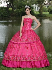 Floor-length Fuchsia Taffeta Modest Style For 2019 Quinceanera Dress