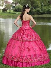 Floor-length Fuchsia Taffeta Modest Style For 2019 Quinceanera Dress