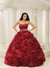 Pretty Wine Red Rolled Flowers Quinceanera Dress Puffy For Evening