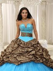 V-Shaped Leopard Bubble Train Aqua Quinceanera Court Dress Exquisite Style