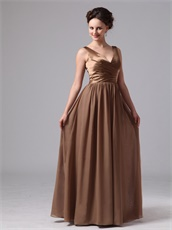 Brown Chiffon Floor Length V-neck Mother Of The Bride Dress Best-Selling