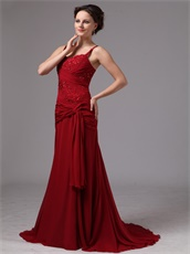 Wine Red Spaghetti Straps Mother Of The Bride Dress As Gift