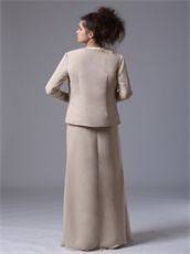Decent Champagne Long Bridal Mother Dress With Jacket Cold Winter Wear