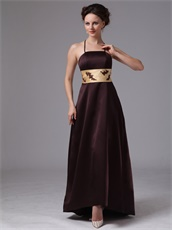 Spaghetti Straps Mother Of The Bride Elegant Brown Dress With Gold Sash