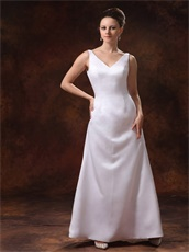 Noble White V-neck Backless Mother Dress Attend Weeding Costume