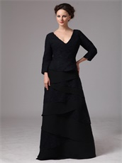 Black Chiffon And Lace Crossed Layers Mother Bride Dress 3/4 Length Sleeves