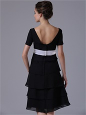Black Tiered Skirt Short Sleeves Bridal Mother Dress For Autumn Day