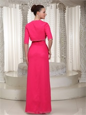Brilliant Empire Hot Pink Mother Bridal Dress With Jacket Spring Wear