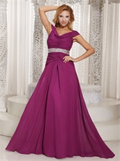Old-fashioned Dark Magenta Long Chiffon Dress Mother Of The Bride Wear
