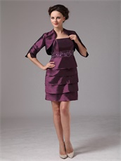 Dark Purple Layers Short Skirt Mother Of The Bride Dress and Jacket Leisure
