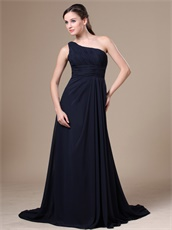 Navy Blue One Shoulder Brush Train Wedding Party Dress For Mother Conservative