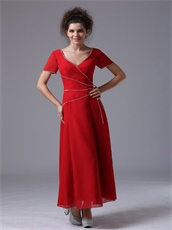 Red V-Neck Ankle-length Alternate Beads Mother of the Bride Dress Most Choice