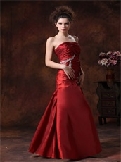 Stylish Wine Red Taffeta Column Fitted Wedding Anniversary Dress New Arrival