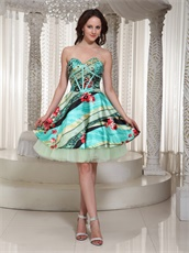 Colorful Printed Sweetheart A-line Cocktail Party Dress Custom Tailoring Free