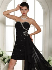Graceful Sweetheart Slender Black Runway Pageant Dress With Side Drap