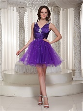 Flattering V-neck Purple Cache Puberty Rite Prom Dress For Girl