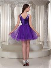 Flattering V-neck Purple Cache Puberty Rite Prom Dress For Girl