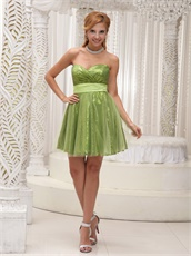 Sparkle Sequin and Tulle Grass Green Night Club Dress With Sash