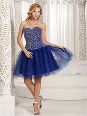 Fully Silver Beading Knee Length Evening Dress Royal Blue