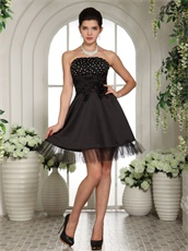 Endearing Black Chest Beaded Girl's Lecture Prom Dress With Tulle Hemline
