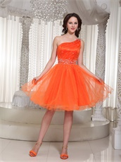 Discount One Shoulder Brightly Orange Girlish Prom Dress Commencement Wear