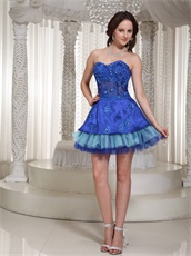 Unique Royal And Sky Blue Layers Prom Dress Waist Translucent