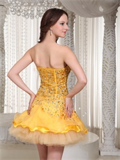 Brand New Little Gold Beaded Decorate Basque Waist Stage Show Dress